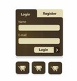 Wood login menu vector