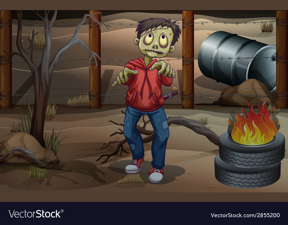 A zombie near the burning tires vector | Price: 3 Credit (USD $3)