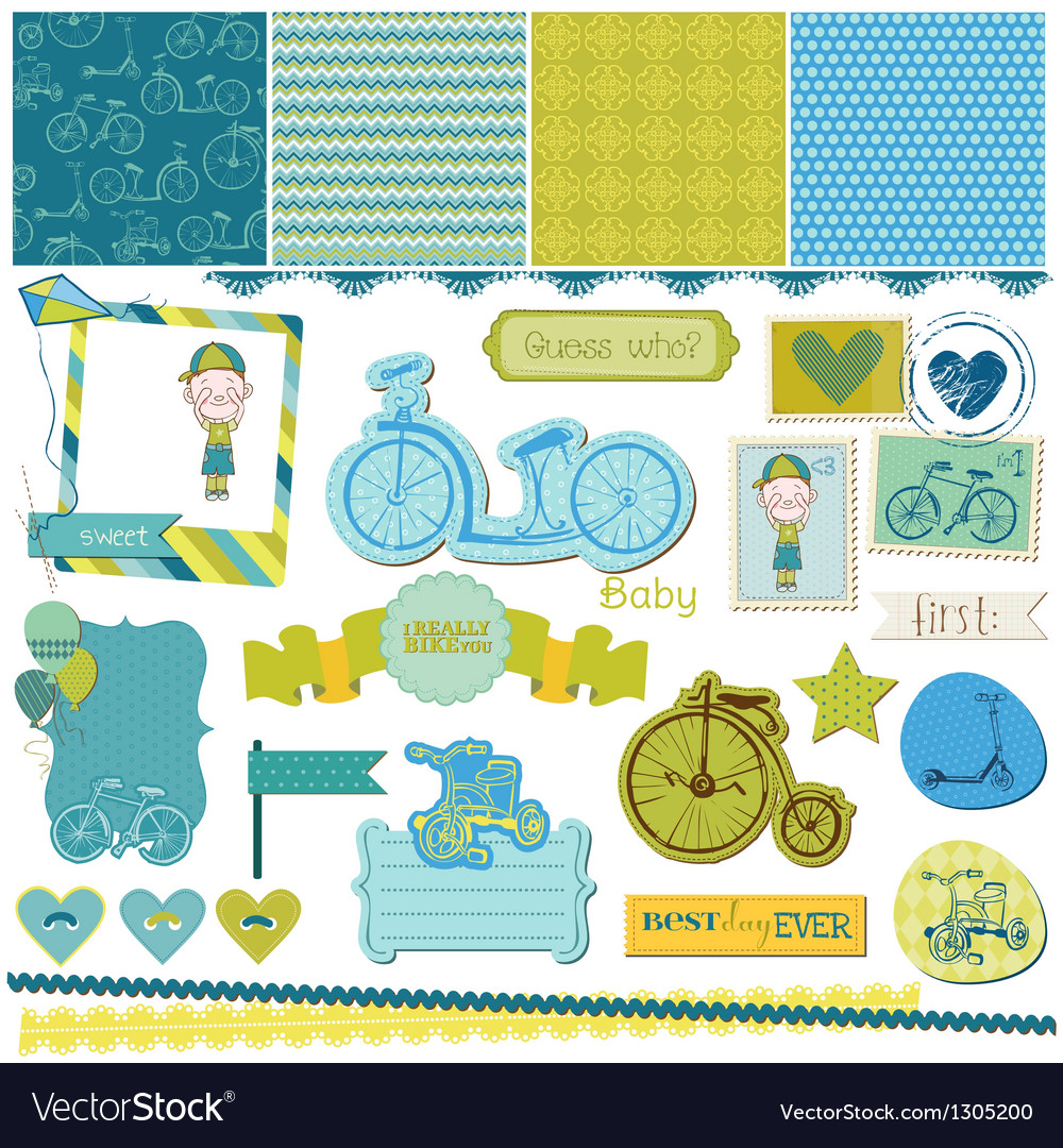 Baby bicycle set vector | Price: 1 Credit (USD $1)