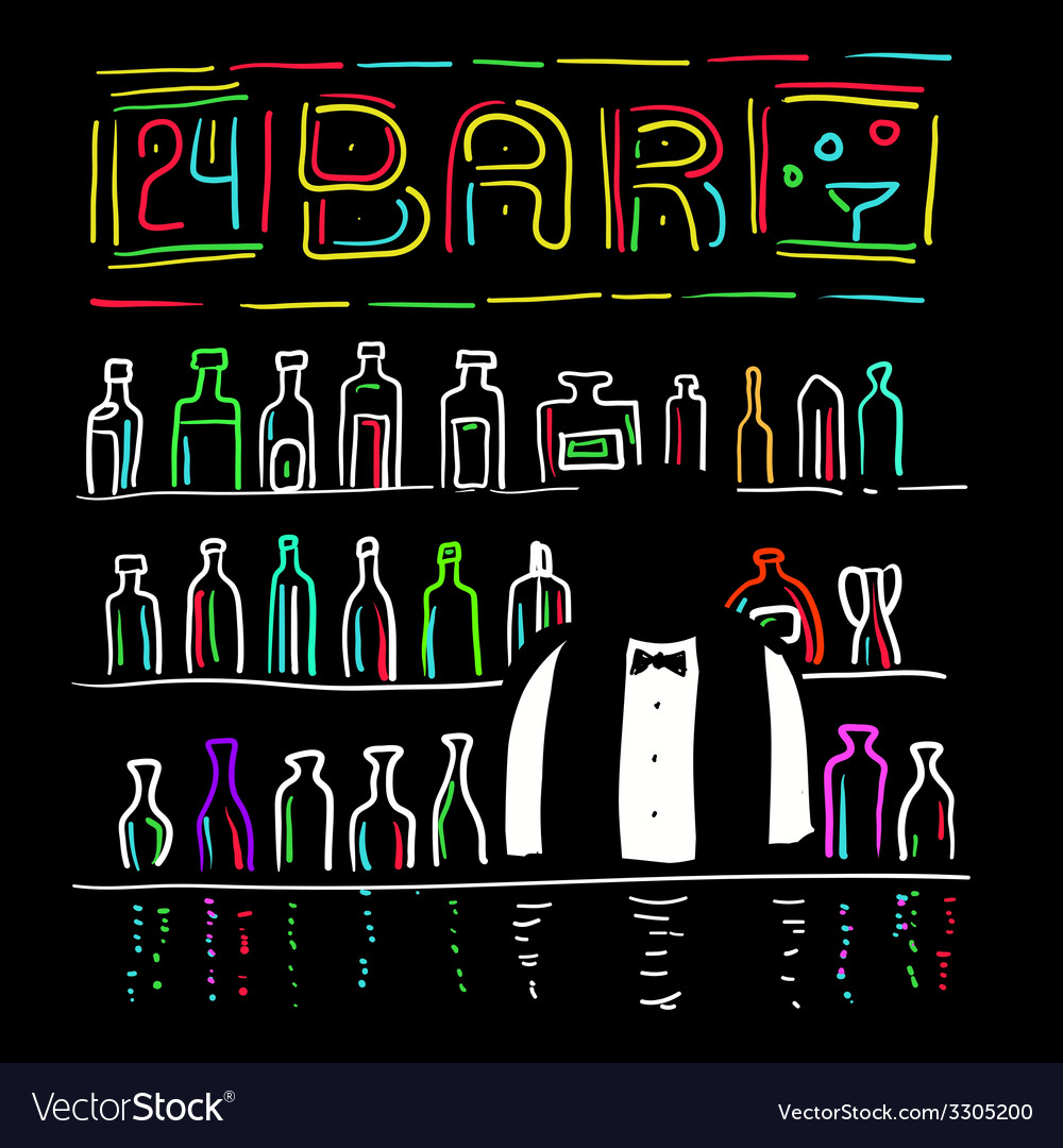 The bartender and bar vector | Price: 1 Credit (USD $1)