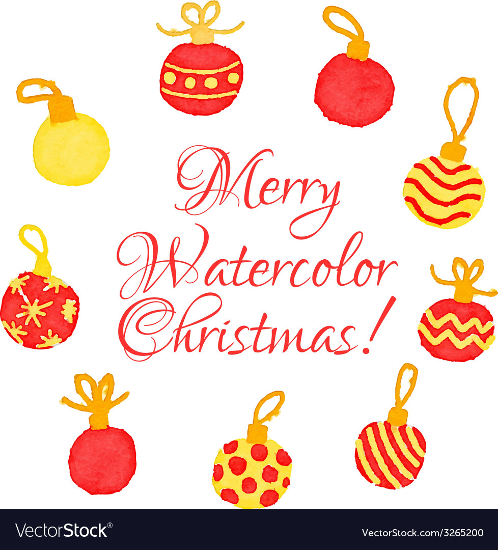 Christmas watercolor greeting card with cute hand vector | Price: 1 Credit (USD $1)
