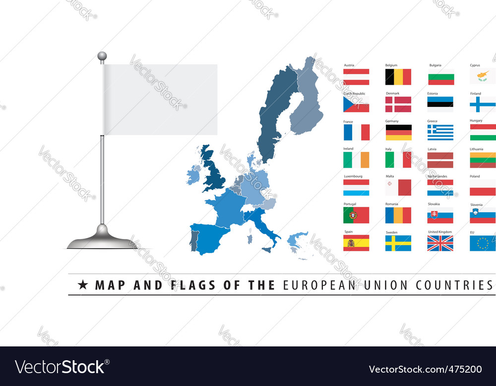 European union map and flag vector | Price: 1 Credit (USD $1)