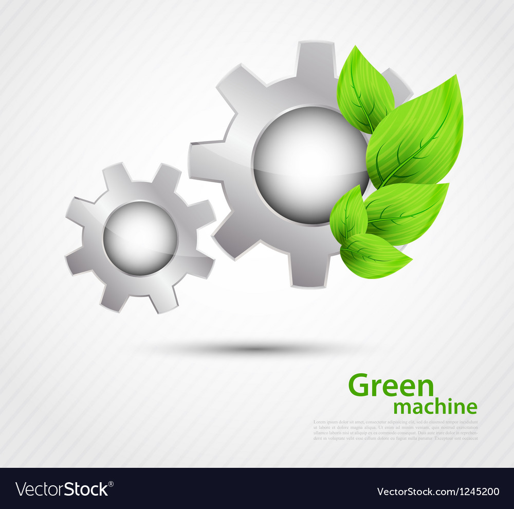 Gear with leaves vector | Price: 1 Credit (USD $1)