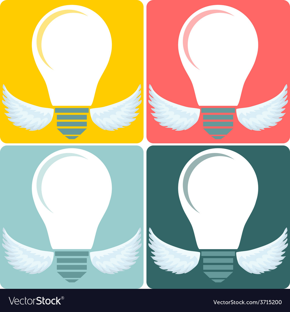 Icon set light bulb lamp as emblem or logo vector | Price: 1 Credit (USD $1)