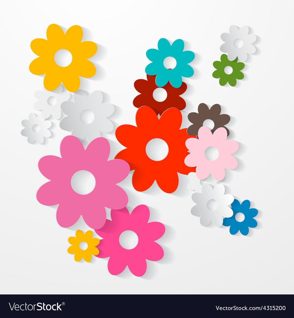 Paper cut colorful flowers set vector | Price: 1 Credit (USD $1)
