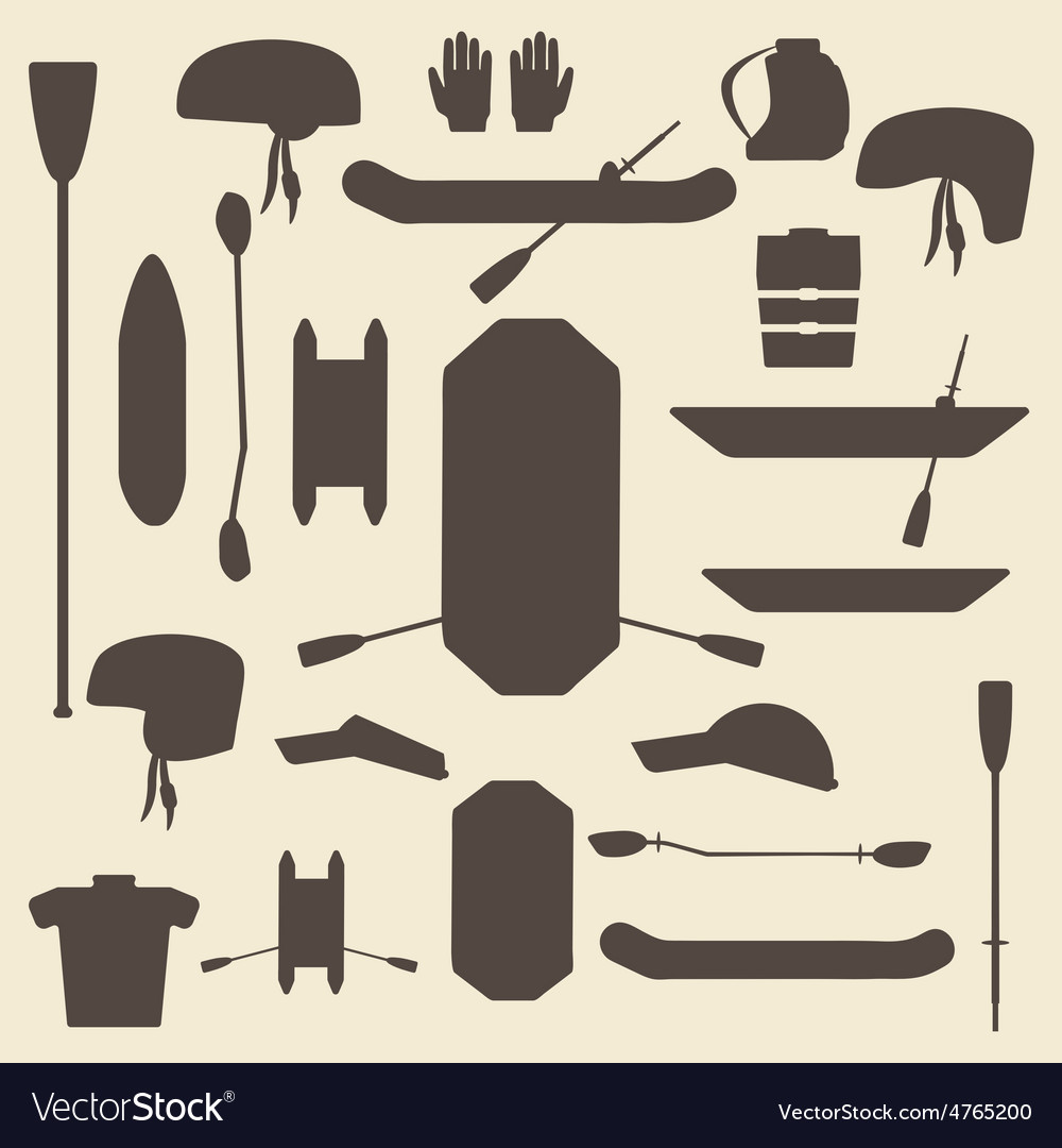 Rafting sport items silhouette icon set oar and vector | Price: 1 Credit (USD $1)