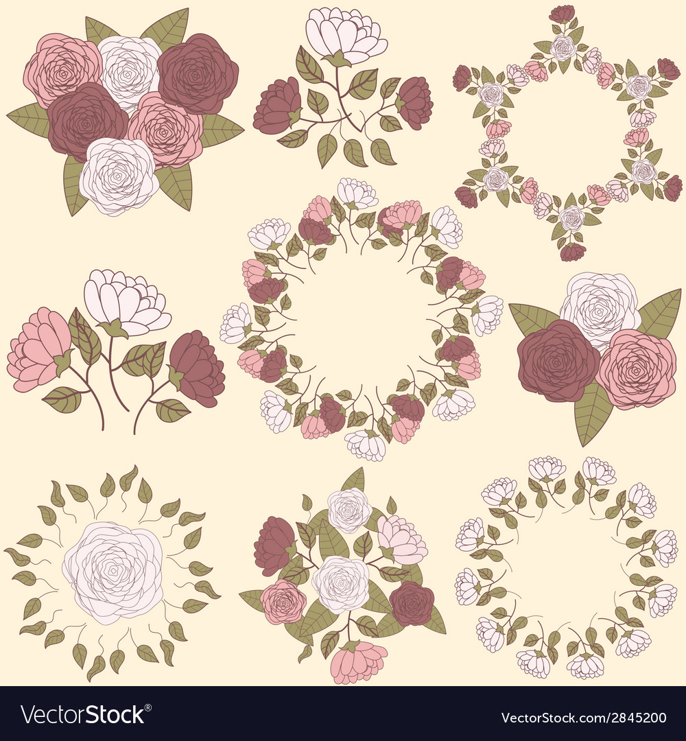 Retro floral wreath and flower bouquet collection vector | Price: 1 Credit (USD $1)