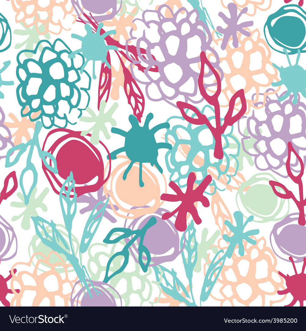 Seamless pattern with flowers leaves spot sketch vector | Price: 1 Credit (USD $1)