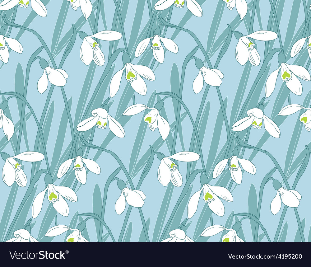 Snowdrops spring seamless background hand-drawn vector | Price: 1 Credit (USD $1)