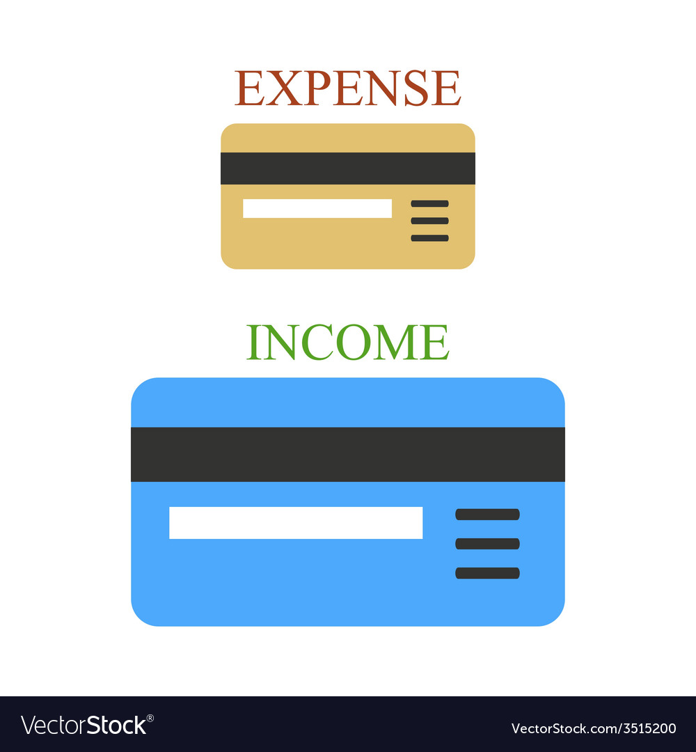 Two bank cards as sings of income and expense vector | Price: 1 Credit (USD $1)