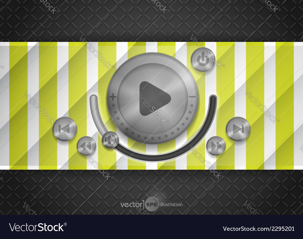Abstract technology app icon with music button vector   Price: 1 Credit (USD $1)