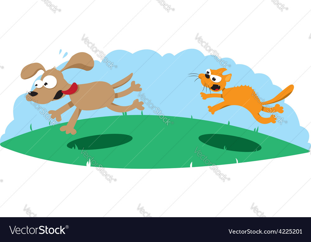 Angry cat hunting a dog vector | Price: 1 Credit (USD $1)