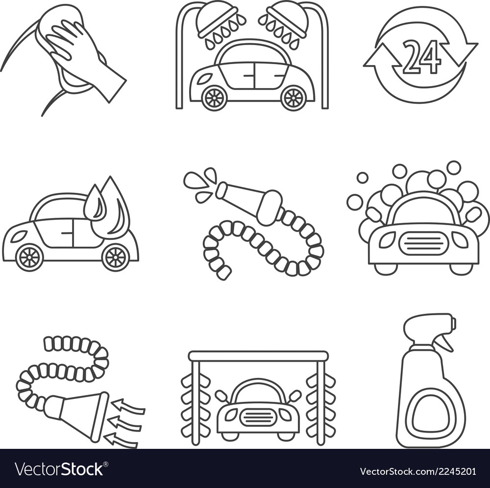 Car wash icons outline vector | Price: 1 Credit (USD $1)