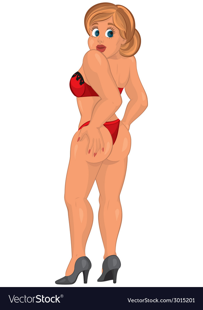 Cartoon young sexy woman in red underwear back vector | Price: 1 Credit (USD $1)