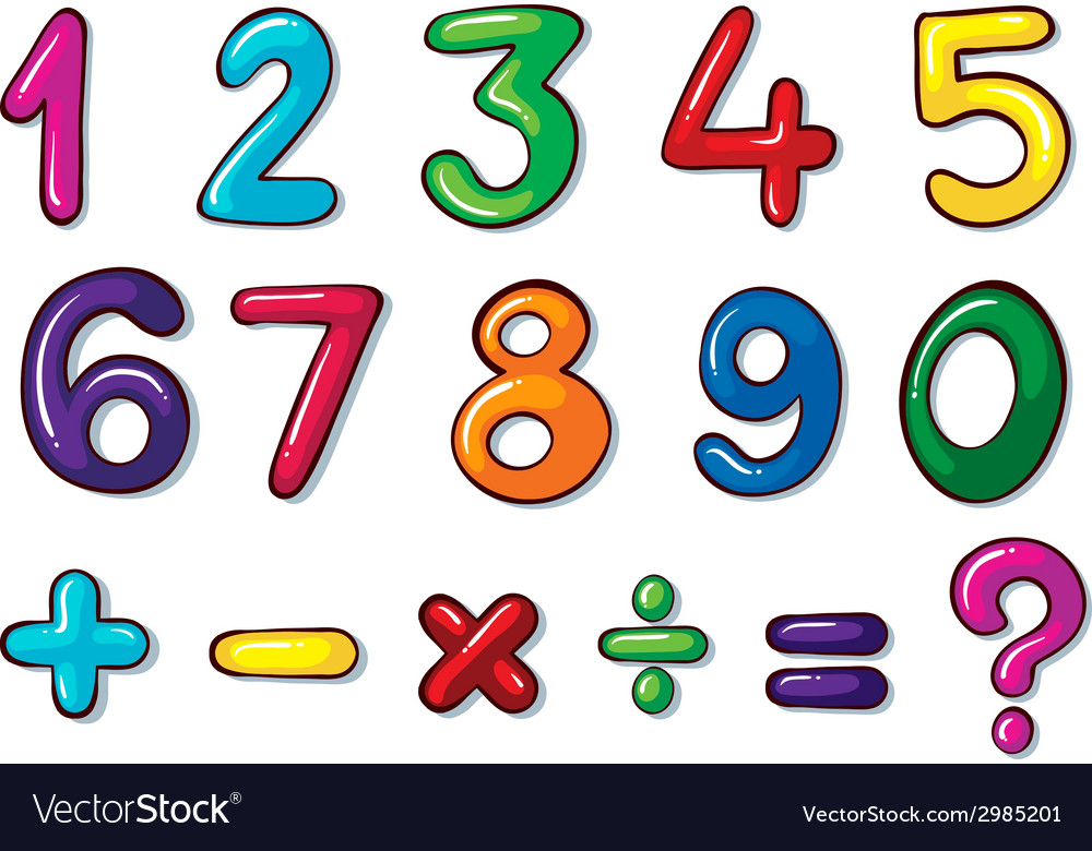 Colourful numbers and mathematical operations vector | Price: 1 Credit (USD $1)