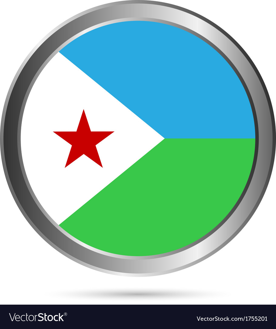 Djibouti flag button vector | Price: 1 Credit (USD $1)