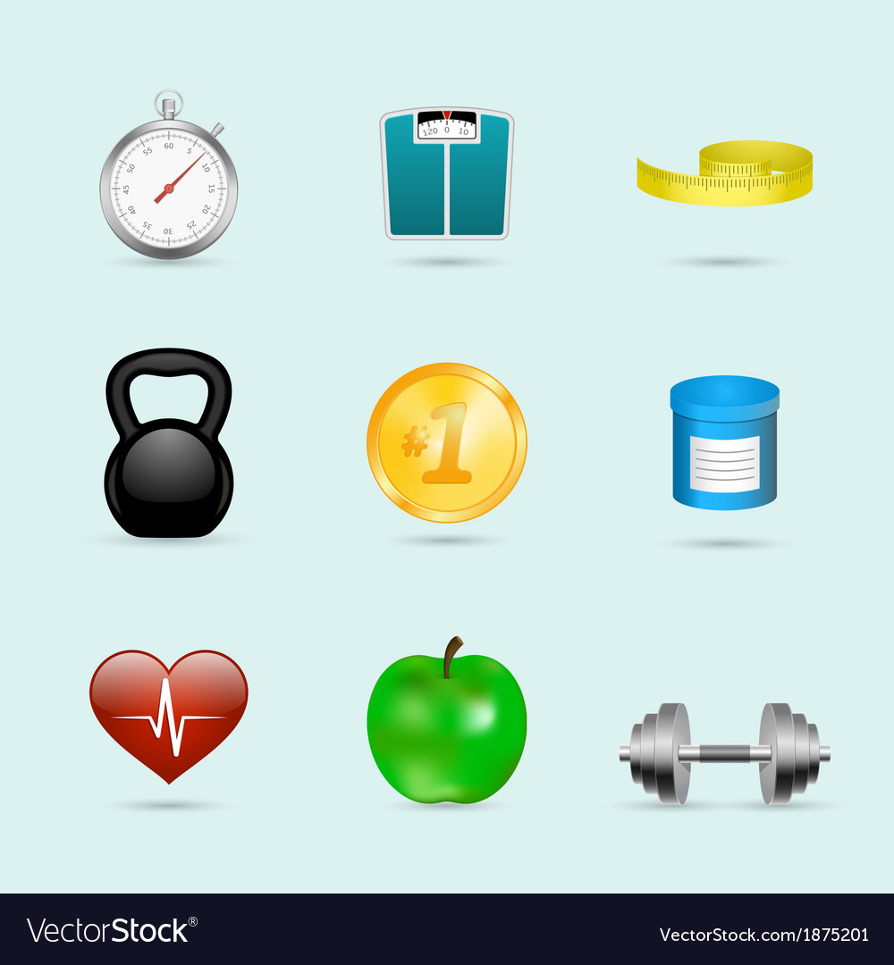 Fitness sport icons set vector | Price: 1 Credit (USD $1)