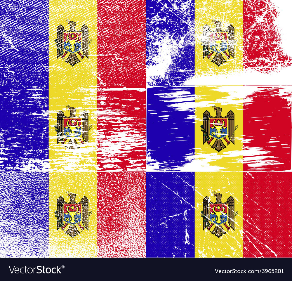 Flag of moldova with old texture vector | Price: 1 Credit (USD $1)