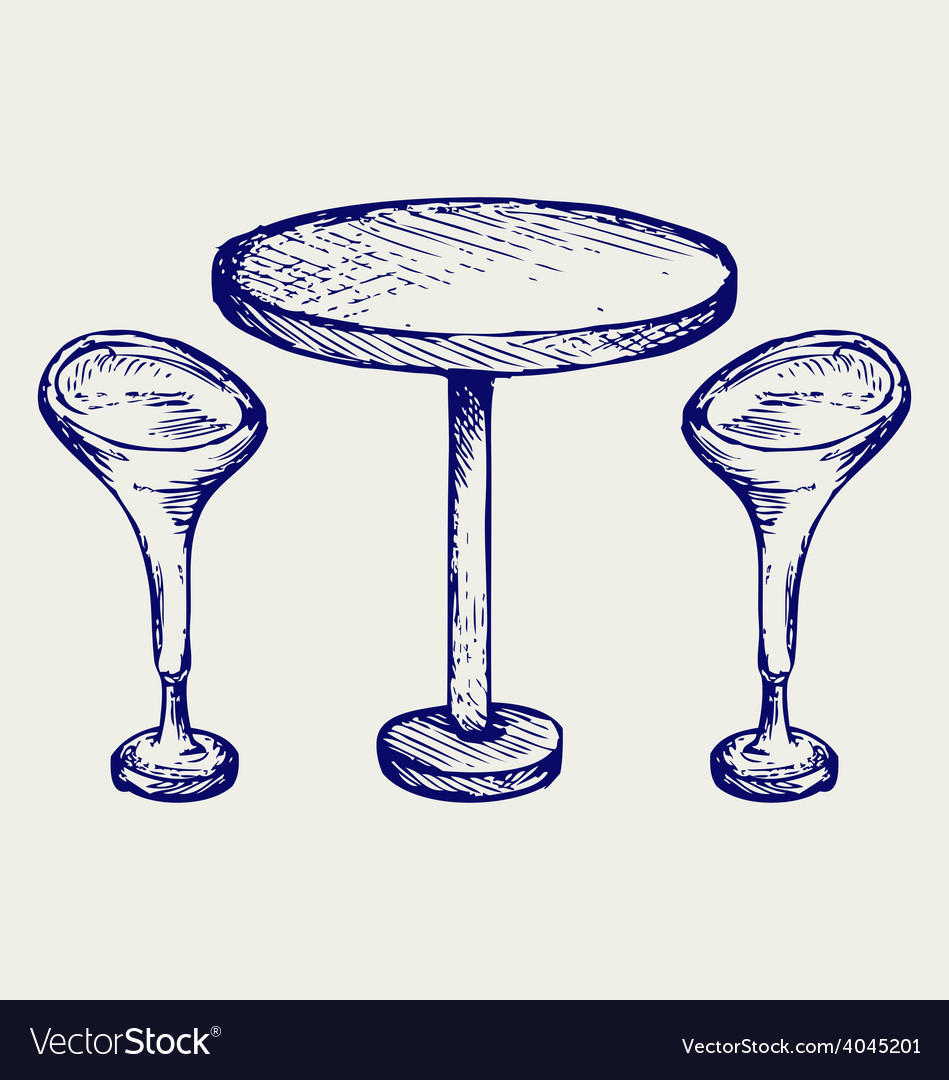 Modern bar table with two chairs vector | Price: 1 Credit (USD $1)