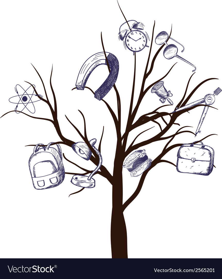 School tree vector | Price: 1 Credit (USD $1)