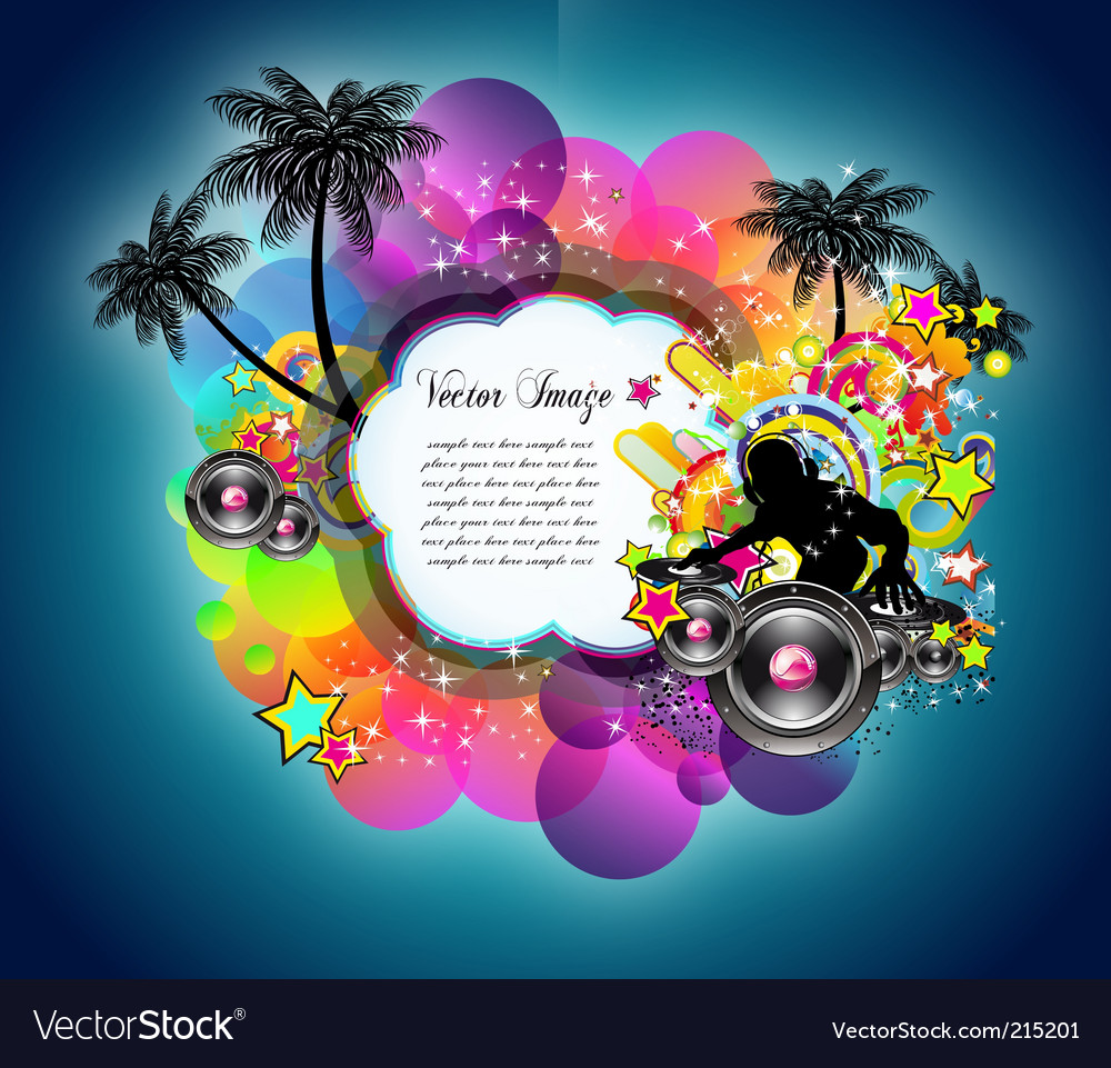 Tropical music disco event vector   Price: 3 Credit (USD $3)