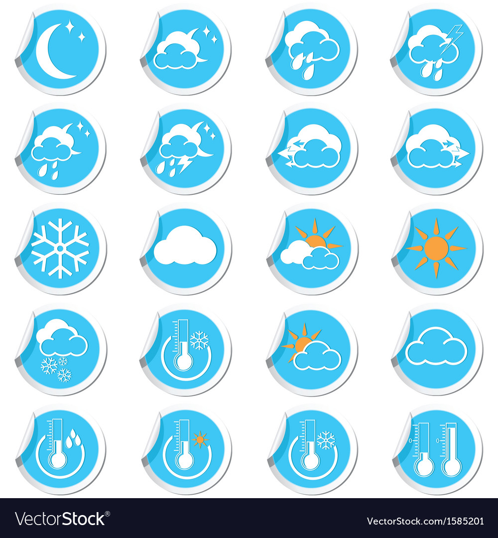Weahter forecast icons set vector | Price: 1 Credit (USD $1)