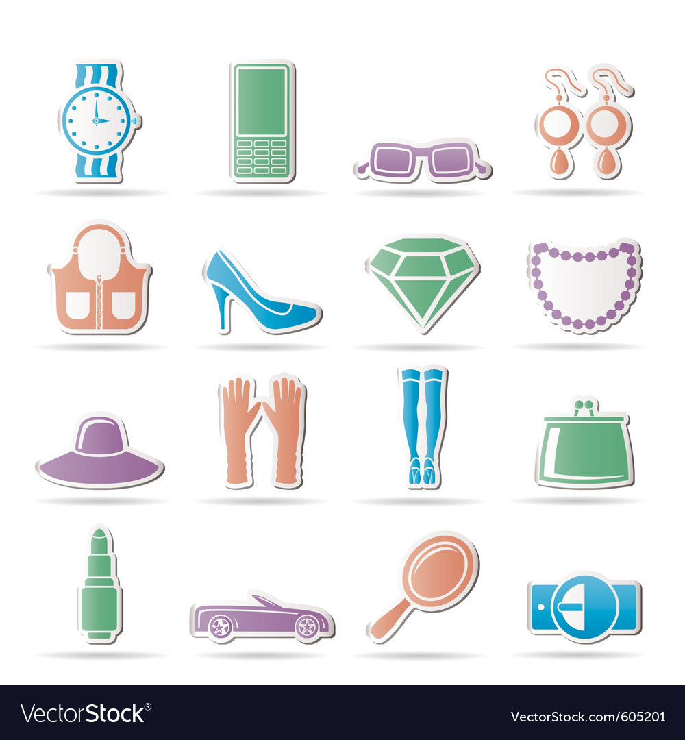 Woman and female accessories icons vector | Price: 1 Credit (USD $1)