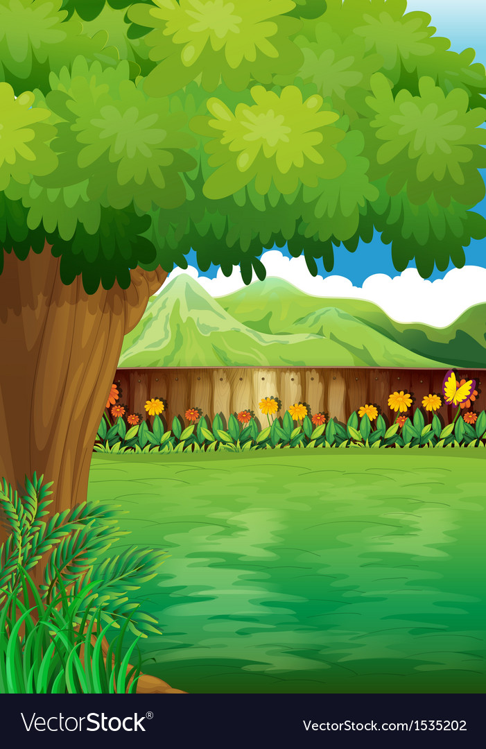 A clean fenced backyard with plants vector | Price: 1 Credit (USD $1)