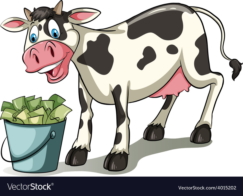 A cow watching the pail vector | Price: 3 Credit (USD $3)