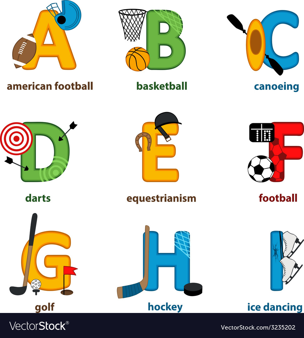 Alphabet sport from a to i vector | Price: 1 Credit (USD $1)