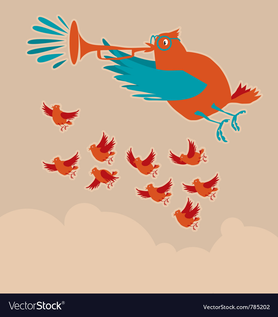 Birds singing vector | Price: 1 Credit (USD $1)