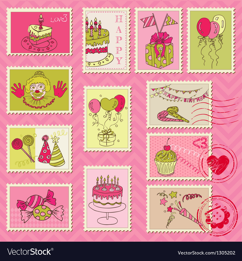 Birthday postage stamps vector | Price: 1 Credit (USD $1)