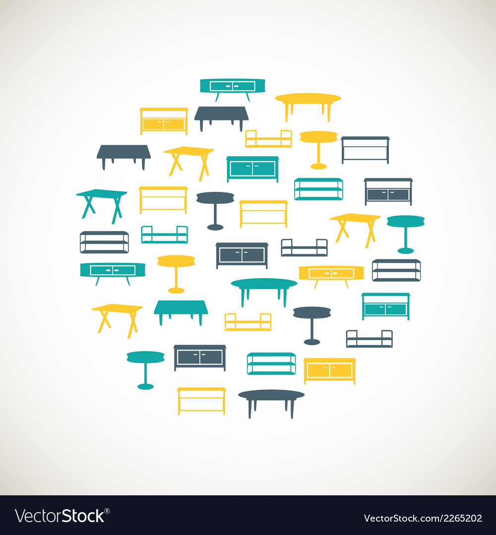 Colorful furniture icons - table vector | Price: 1 Credit (USD $1)