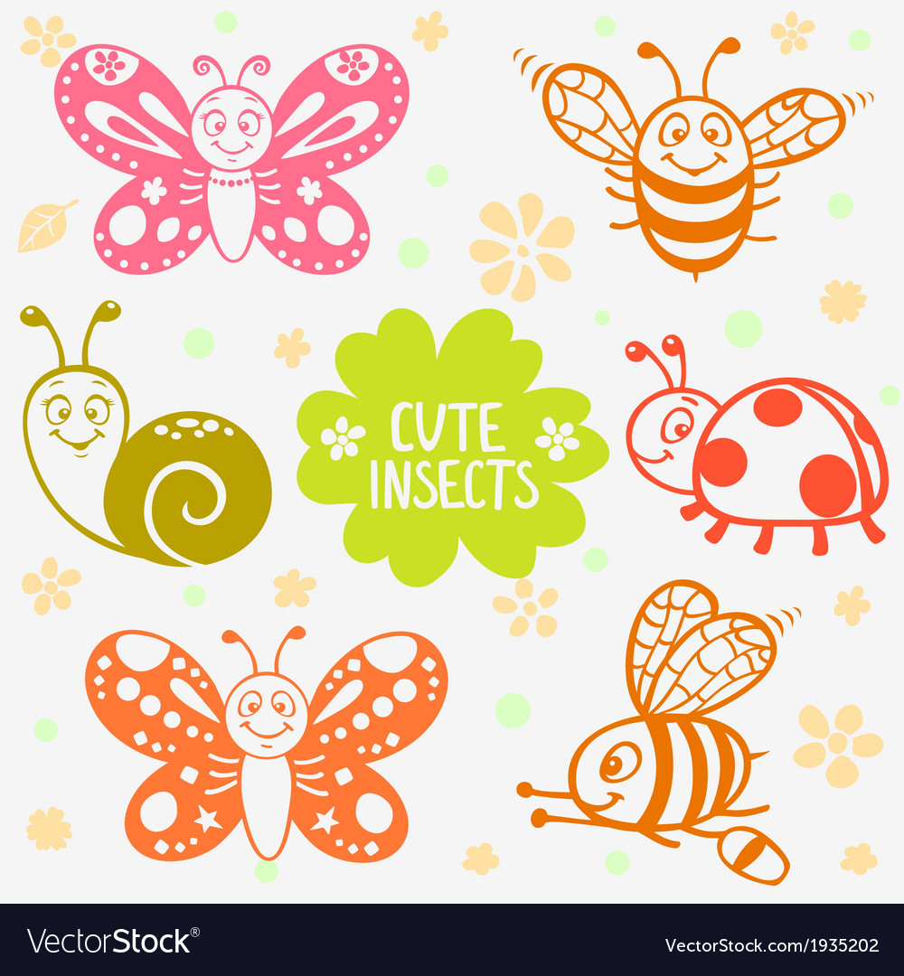Cute insects silhouette vector | Price: 1 Credit (USD $1)