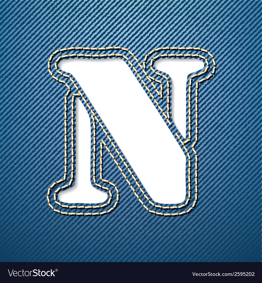 Denim jeans letter n vector | Price: 1 Credit (USD $1)