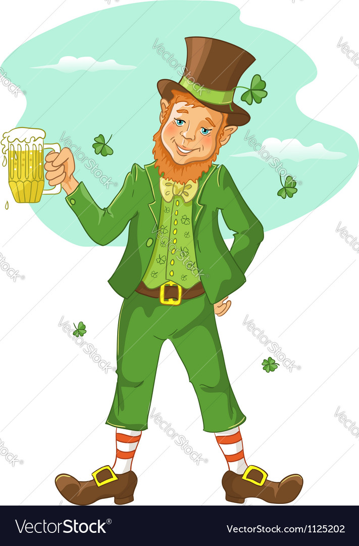 Friendly leprechaun with beer for st patricks day vector | Price: 1 Credit (USD $1)