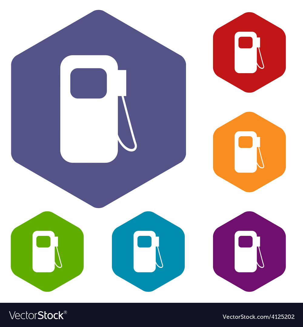 Gas station rhombus icons vector | Price: 1 Credit (USD $1)