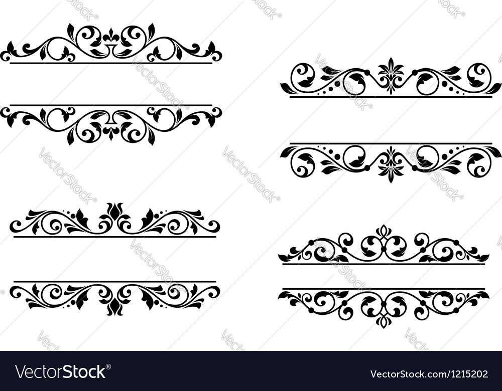 Header frame with retro floral elements vector | Price: 1 Credit (USD $1)