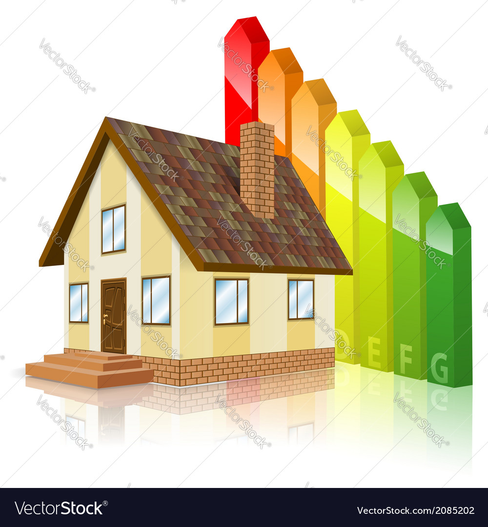 Home with energy efficiency rating vector | Price: 1 Credit (USD $1)