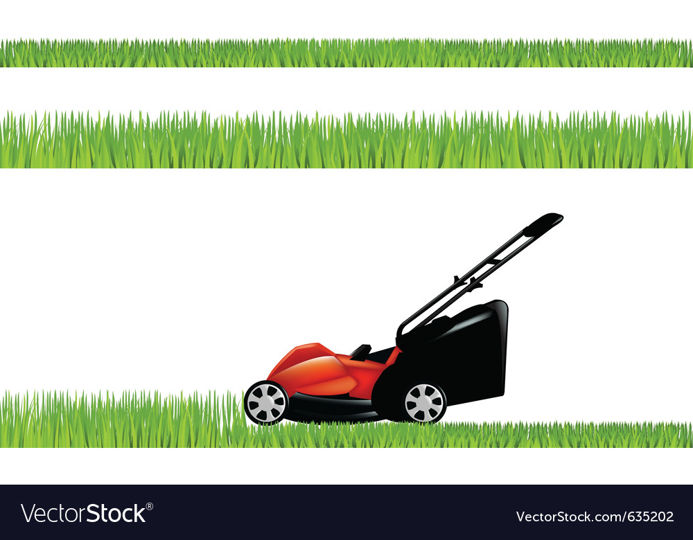 Lawnmower with grass vector | Price: 1 Credit (USD $1)