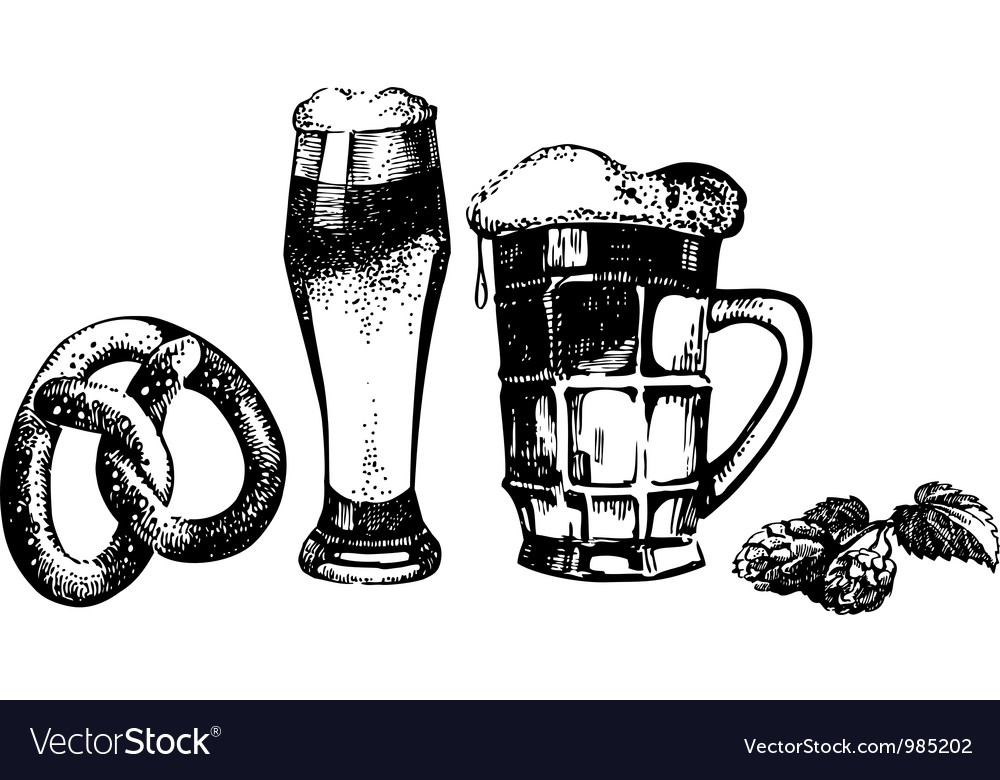 Oktoberfest set of beer hops and pretzel vector | Price: 1 Credit (USD $1)
