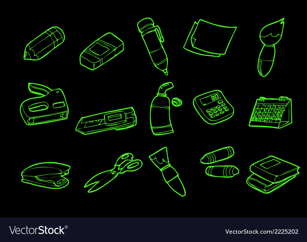 Stationery isolate on black vector | Price: 1 Credit (USD $1)