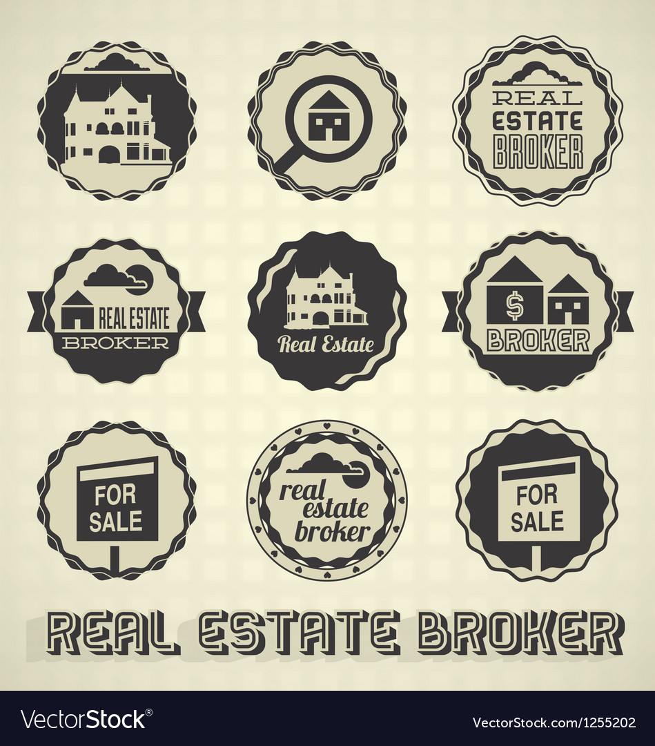 Vintage real estate labels and icons vector | Price: 1 Credit (USD $1)