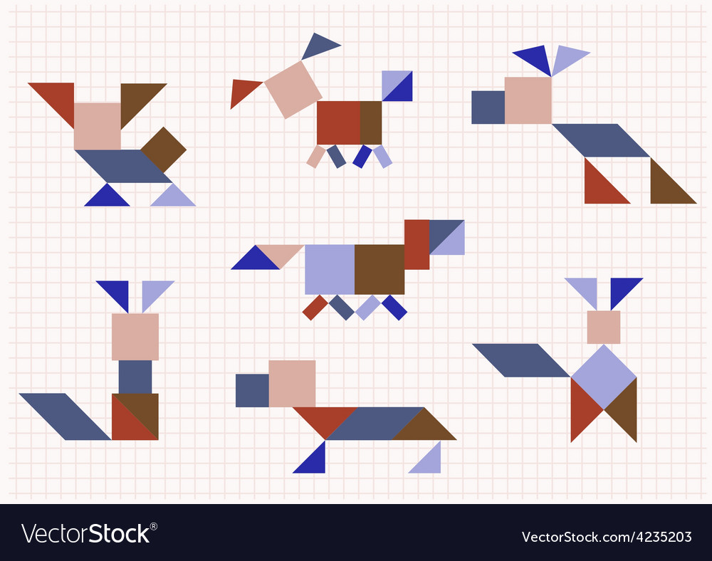 Breed dog on a white background tangram vector | Price: 1 Credit (USD $1)