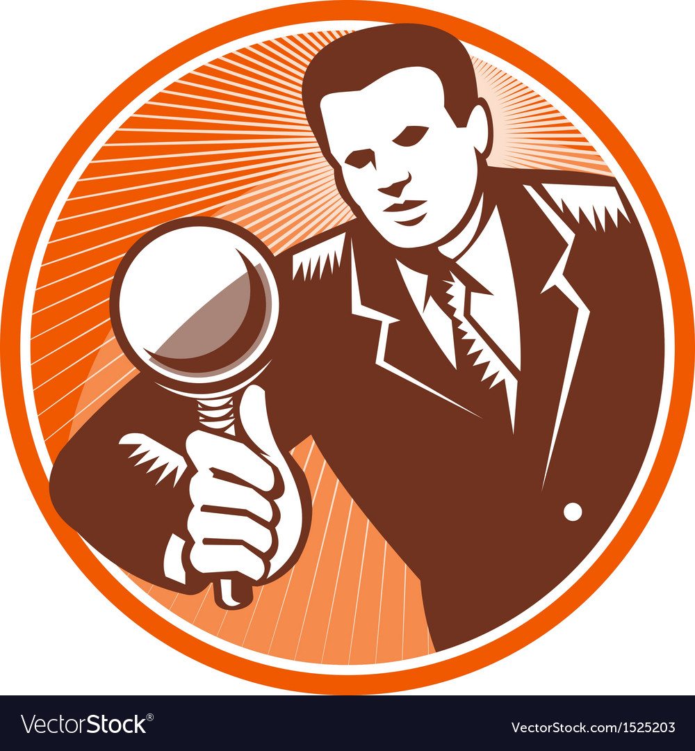 Businessman holding looking magnifying glass vector | Price: 1 Credit (USD $1)