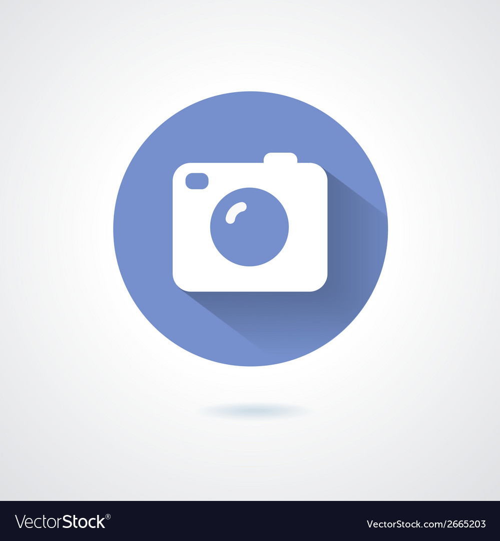 Camera icon flat style with long shadow vector | Price: 1 Credit (USD $1)