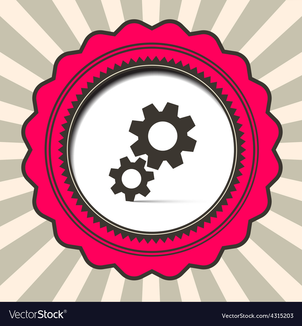 Cog - gears icon on retro paper background vector | Price: 1 Credit (USD $1)