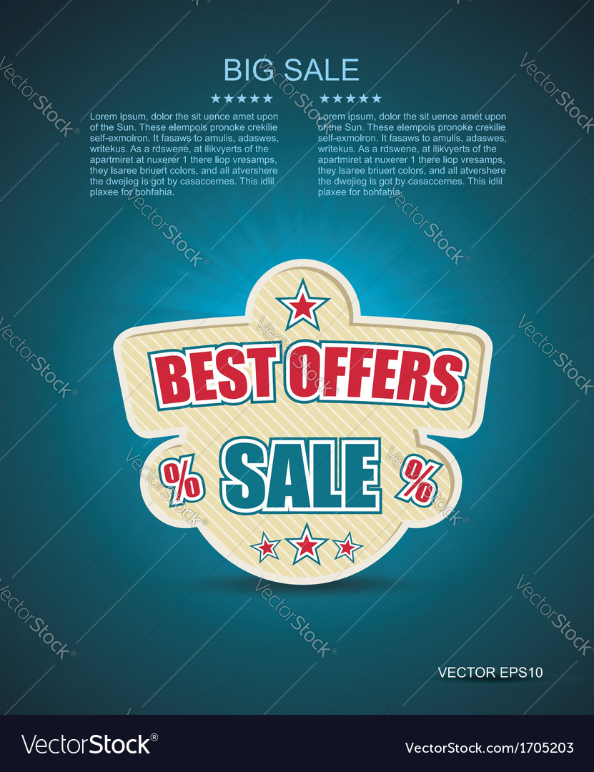 Emlbem for best offer with place for text vector   Price: 1 Credit (USD $1)