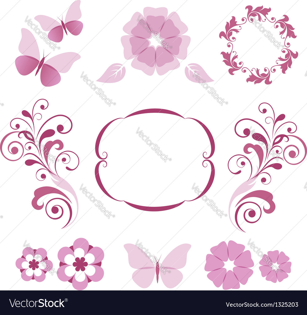 Floral decorative elements vector | Price:  Credit (USD $)