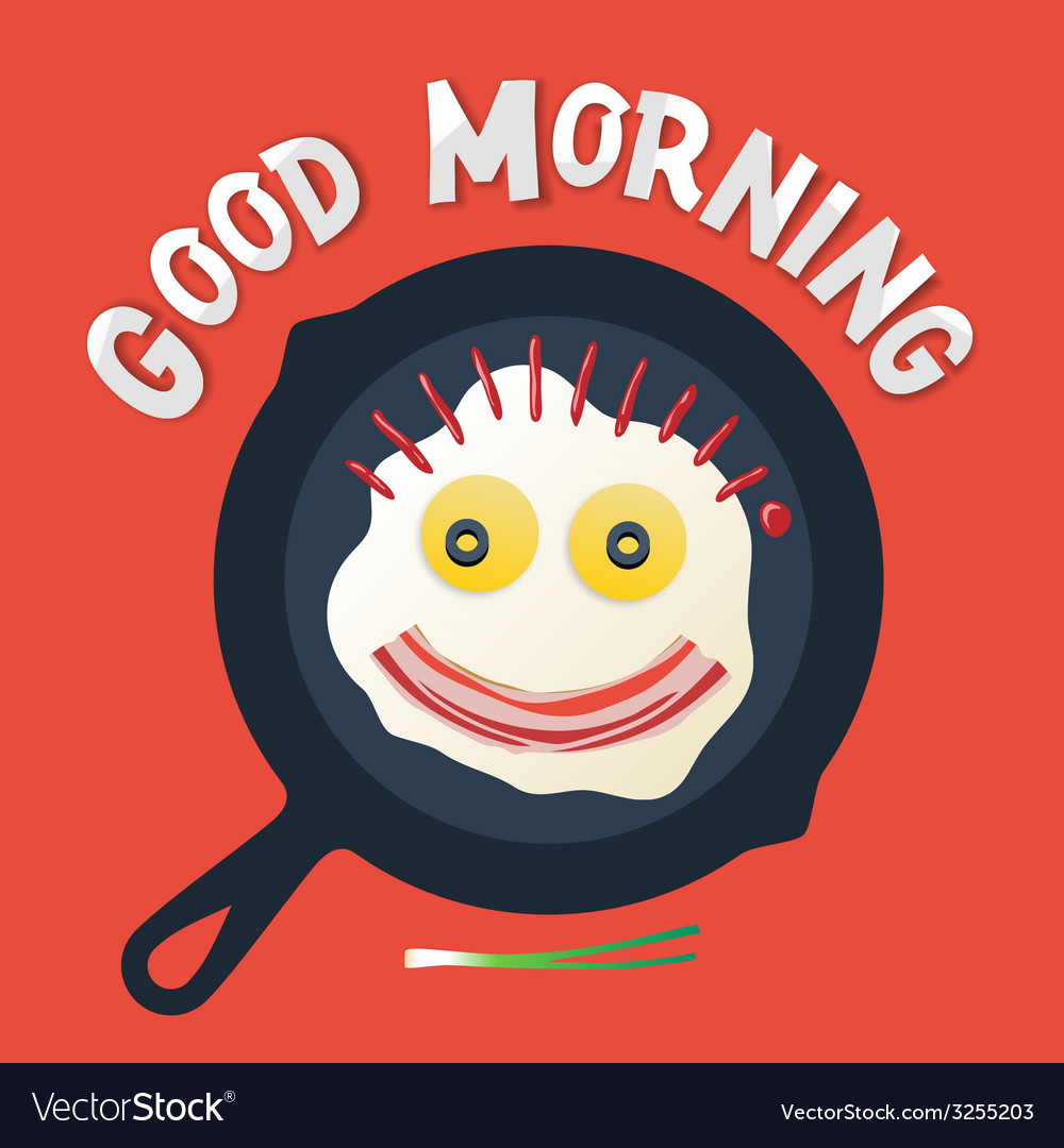 Good morning - smiling face make with fried eggs vector | Price: 1 Credit (USD $1)